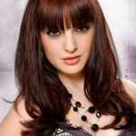 Long Brunette Hairstyles with Front Bangs