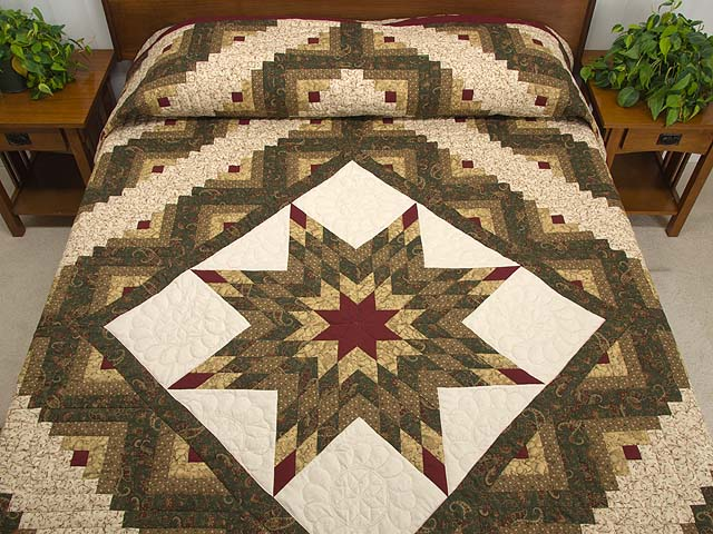 Quilting Pattern For Lone Star : Lone Star Log Cabin Quilt Pattern