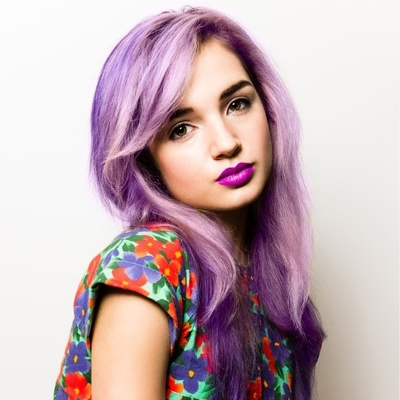 Purple Highlights in Blonde Hair