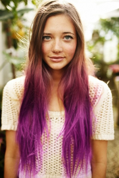 Dark Blonde Hair with Purple Ombre