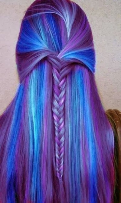 Purple Hair Waterfall Braid