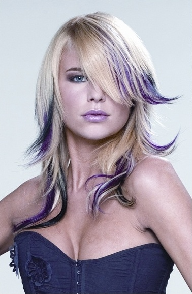 Black Hair with Purple Highlights Hairstyles