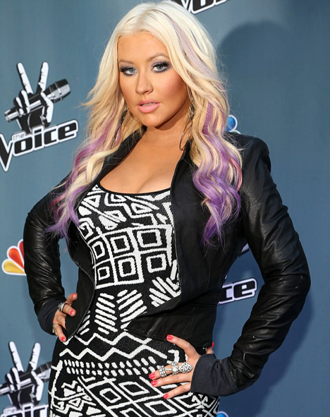 Christina Aguilera Purple Highlights