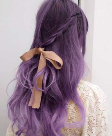 Purple Bow Tia Hair