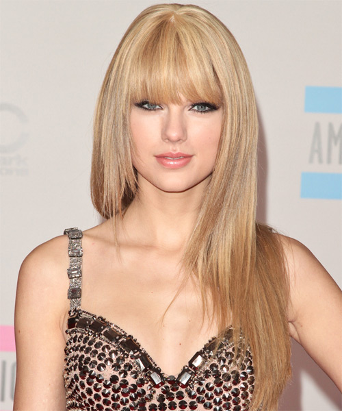 Taylor Swift Front Bangs Blonde Hair Color