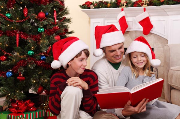Children Reading Christmas Books
