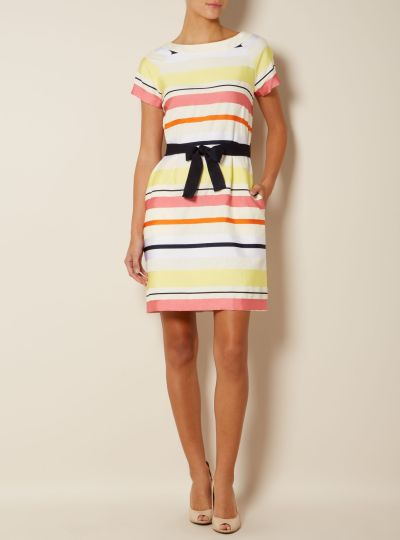 Max Mara Ivy Domino Belted Stripey Dresses