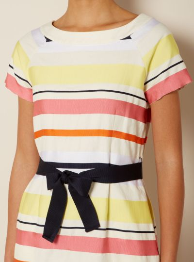 Max Mara Ivy Domino Belted Stripey Shift Dress