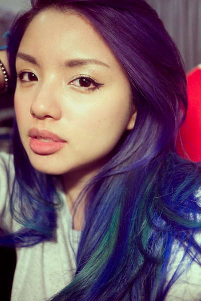 Purple-Blue Ombré Hair with Turquois