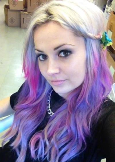 Pink and Purple Streaks in Blonde Hair