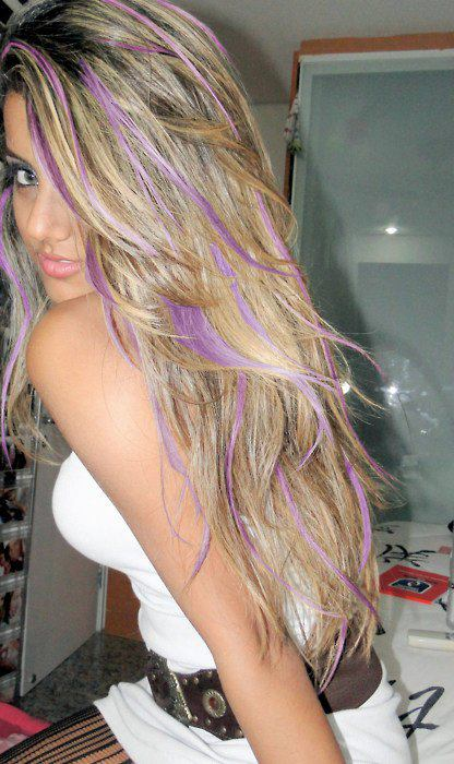 Light Blonde Hair with Purple Highlights