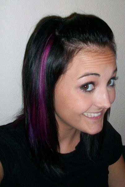 Cute Purple Hair Streaks in Blonde Hair