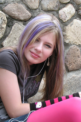 Purple Streaks on Blonde Hair