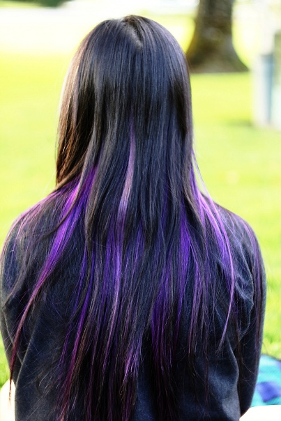 Waterfall Purple Blonde Highlights on Long Hair
