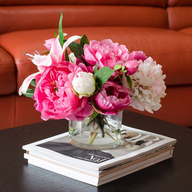 Top 10 pink wedding flowers arrangements ideas 6 peony pink flower arrangement mightylinksfo Gallery