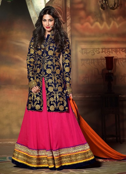 Velvet Jacket Lehenga Designs