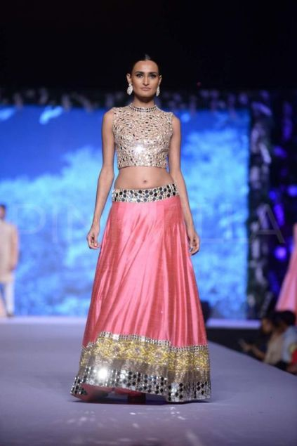 Lehengas Embellished with Mirror and Crystal