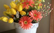 Gerbera Daisy with Tulip Silk Flower Arrangement