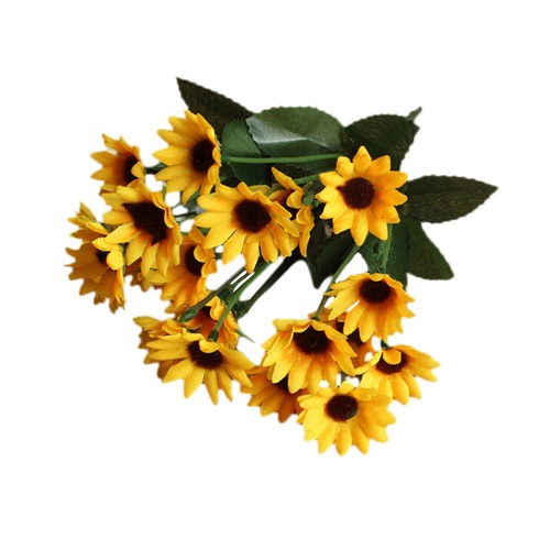 14 Headed Sunflower Silk Bouquets for Wedding