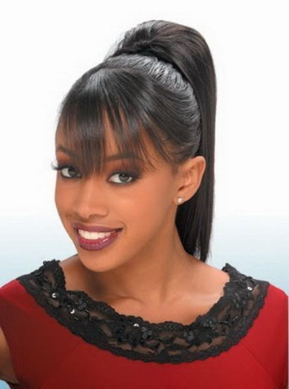 Black Women High Ponytail Hairstyles With Side Bangs