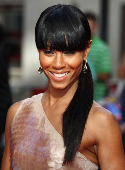 Black Hair Ponytail Style with Bangs