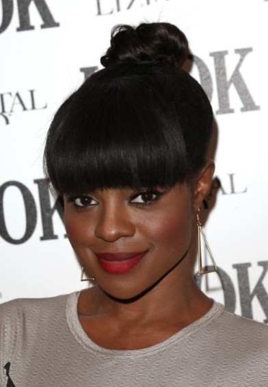 Knot Hairstyle with Bangs for  African American Ladies