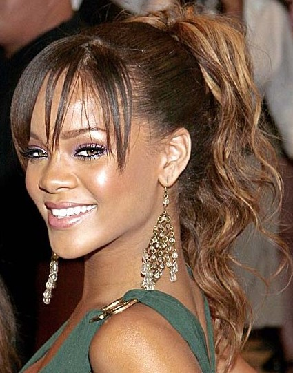 African American Prom Hairstyles with Blunt Bangs