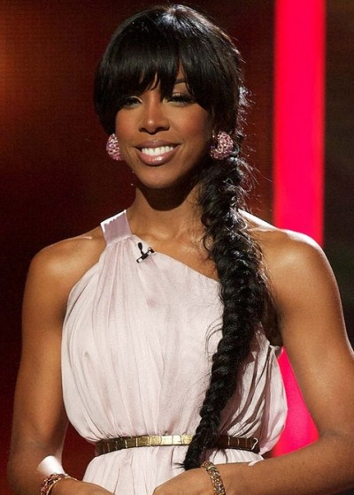 Kelly Rowland Hairstyles Long Ponytail Braided Hairstyle with Bangs