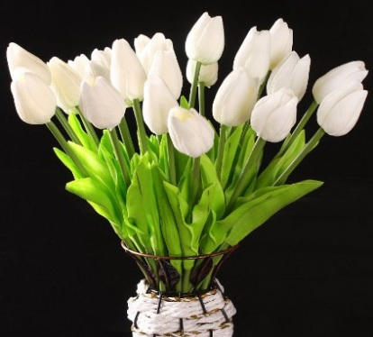 10 pcs White Tulip Silk Bouquet