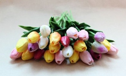 Mixed Artificial Tulips Flower Arrangement Ideas