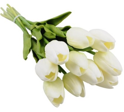 White Silk Tulips for Home Parties
