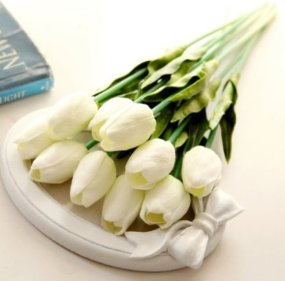 White Tulip Silk Flower Arrangements for Bridesmaids