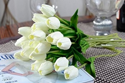 White Tulip Artificial Flowers for Room Decorations