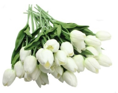 Real Touch Tulip Arrangement with White Tulip Flowers Artificial