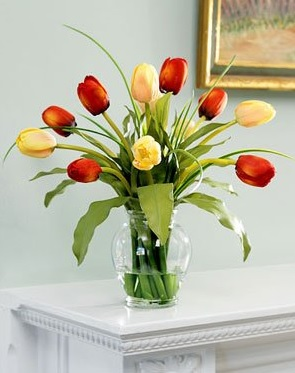 Mixed Tulip Silk Flower Arrangement – White/Red/Yellow