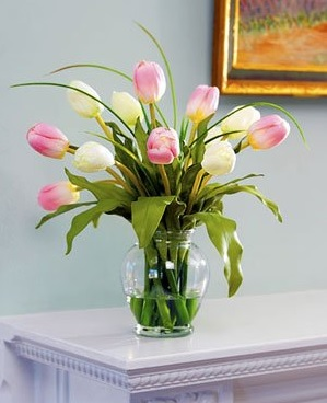 Mixed Tulip Silk Flower Arrangement - Pink/White