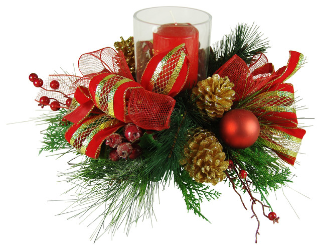 Faux Floral Christmas Candle Centerpiece for Event