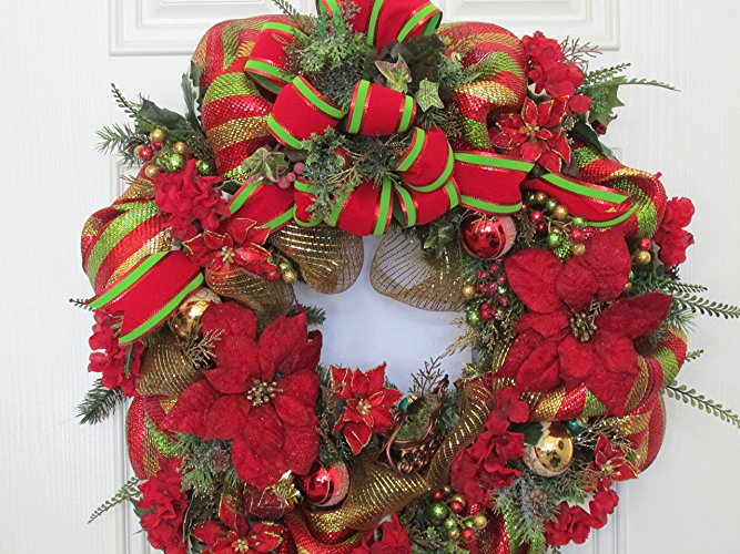 Elegant Poinsettia Christmas Door Wreaths