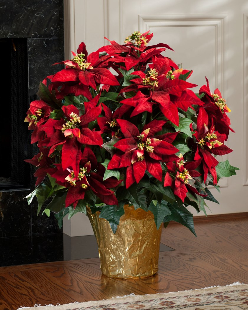 Red and Green Silk Floral Arrangements for Christmas