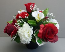 Red and White Silk Flower Bouquets
