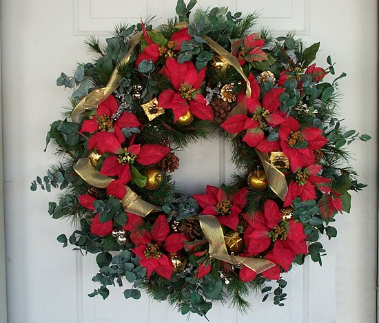 Red & Gold Poinsettia Christmas Wreath