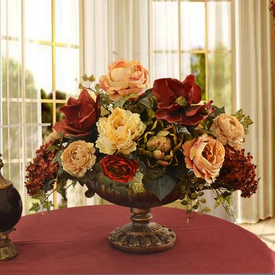 Burgundy and Cream Grande Silk Floral Centerpiece for Christmas