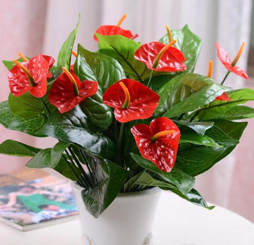 Faux Flower Anthurium Flowers Bouquet Home Decor Party