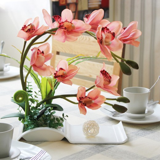 Silk Orchid - Decorative Flowers Artificial Bonsai with Ceramic Dish for Home Décor