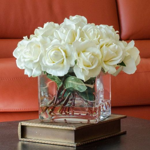 White Artificial Faux Rose Arrangement with Square Glass Vase