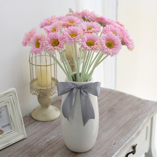 20pcs Pink Gerbera Barberton Daisy Faux Flower Bouquet Bunch Home/Office Decoration