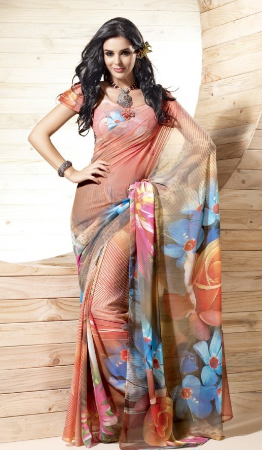 Printed Saree Indian Pakistani Beautiful Fashion Preference