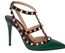 Valentino Rockstud Ankle-Strap Heels in Green