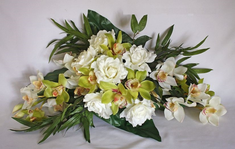 Cymbidium Orchids and Roses Altar Floral Arrangement Picture
