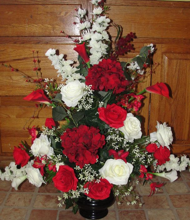 Red/White Silk Flower Arrangements Ideas for Church